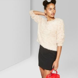 Wild Fable Glitter Fuzzy Tinsel Knit Sweater Pink